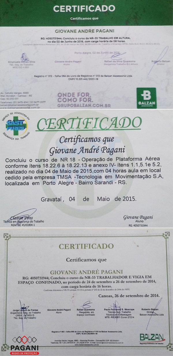 Certificado Pagani - Redes de Proteção - Porto Alegre